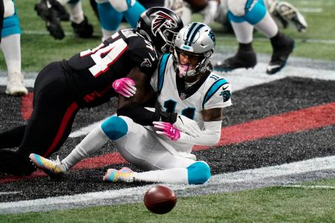 Carolina Panthers wide receiver Robby Anderson (11) misses the catch against Atlanta Falcons li ...