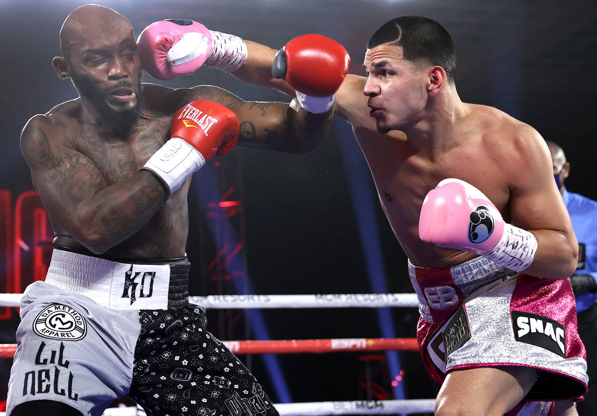 Edgar Berlanga, right, lands a punch against Lanell Bellows on Saturday, Oct. 17, 2020, at the ...