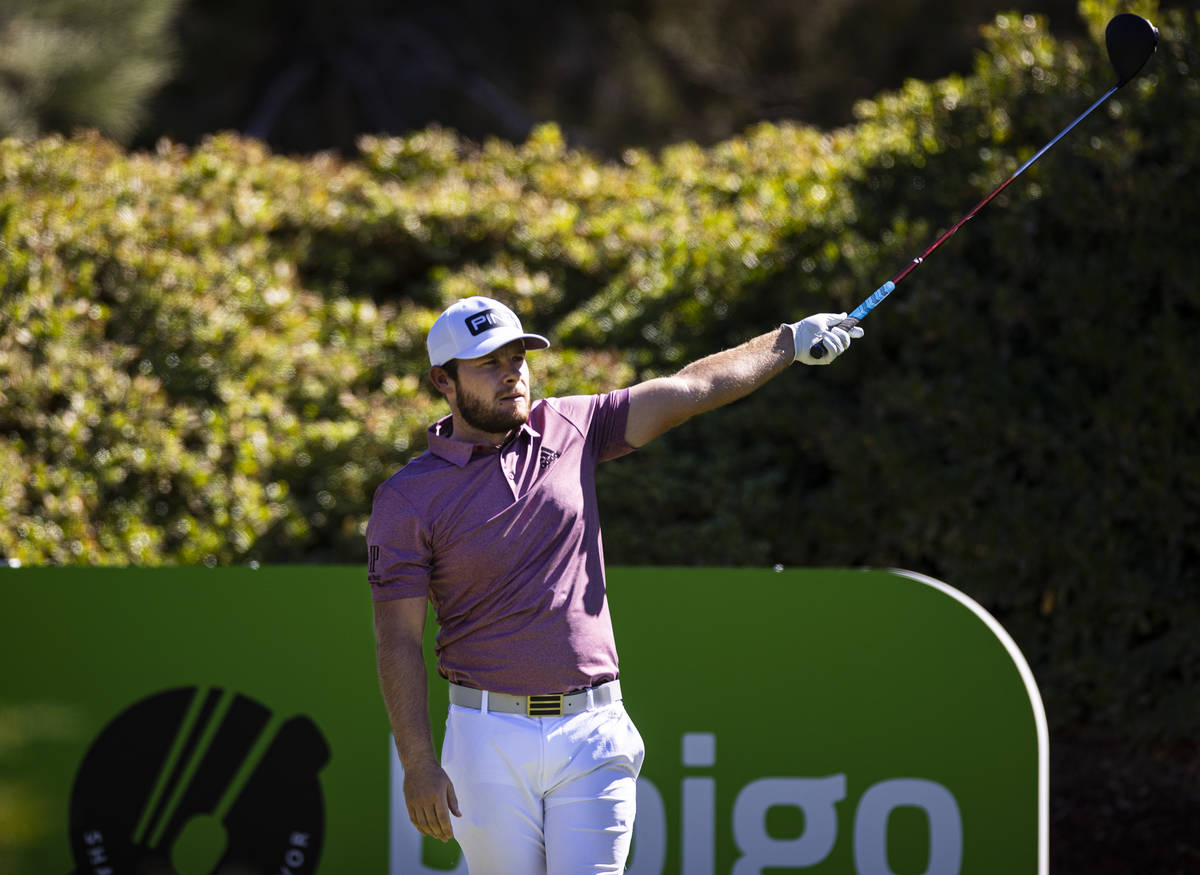 Tyrrell Hatton watches his tee shot at the sixth hole during the third round of the CJ Cup at t ...