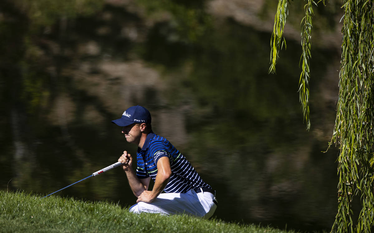 Jason Thomas lines up a putt on the fourth green during the third round of the CJ Cup at the Sh ...