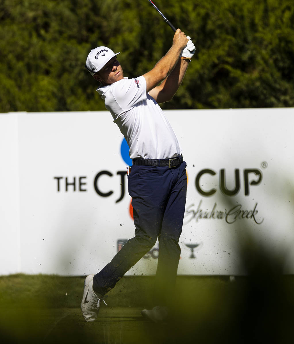 Talor Gooch tees off at the fifth hole during the third round of the CJ Cup at the Shadow Creek ...