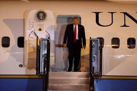 President Donald Trump at McCarran International Airport in Las Vegas after arriving onf Air Fo ...