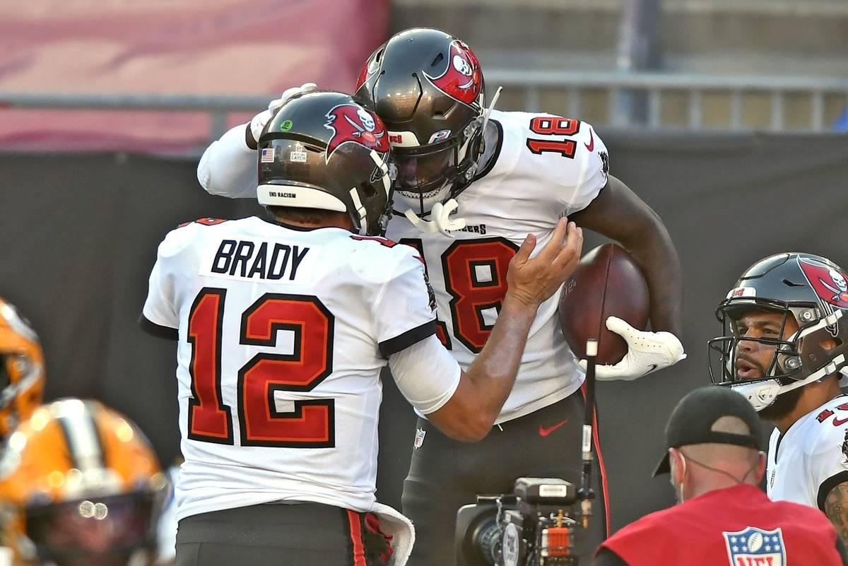 Tampa Bay Buccaneers wide receiver Tyler Johnson (18) celebrates with quarterback Tom Brady (12 ...