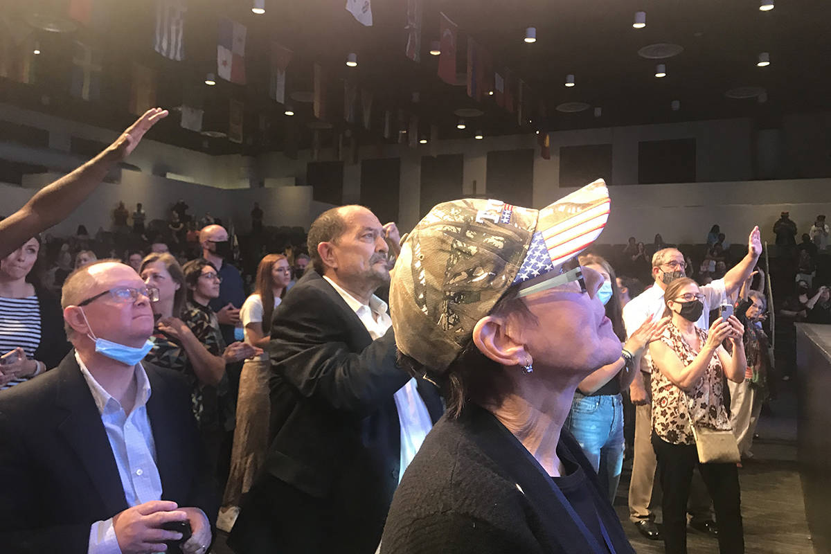 People attend service Sunday, Oct. 18, 2020, at the International Church of Las Vegas. (Alex Ch ...