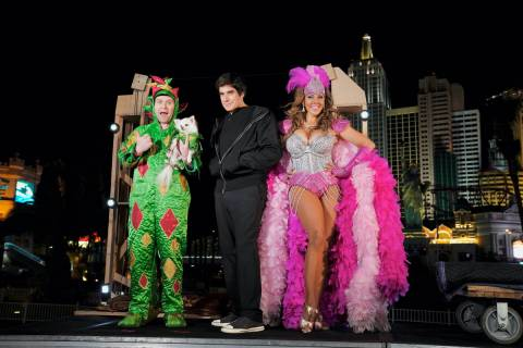 "PIff the Magic Dragon, David Copperfield and Jade Simone are shown taping a segment for ""Americ ..."