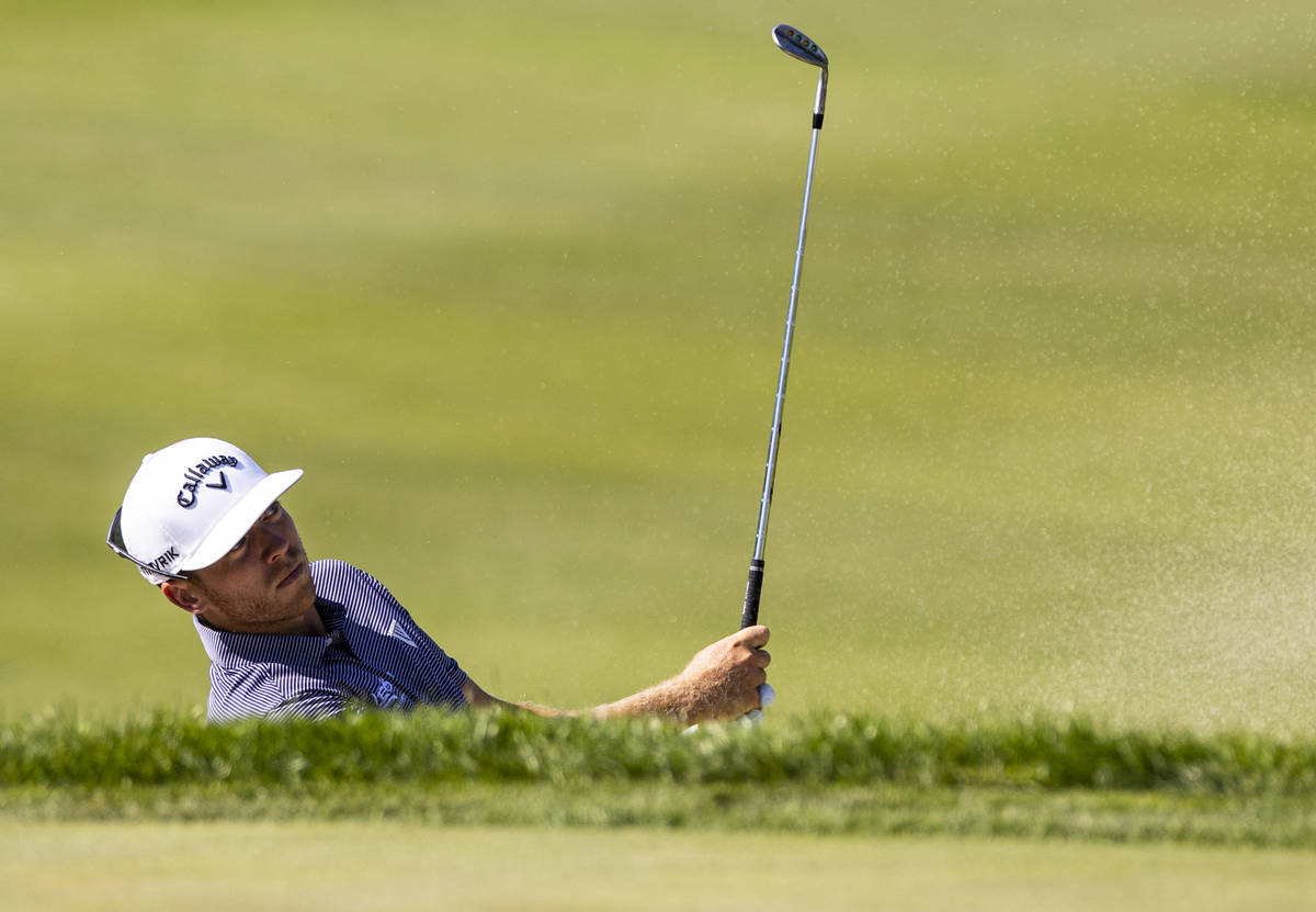 Talor Gooch hits out of the bunker onto the seventh green during the final round of the CJ Cup ...