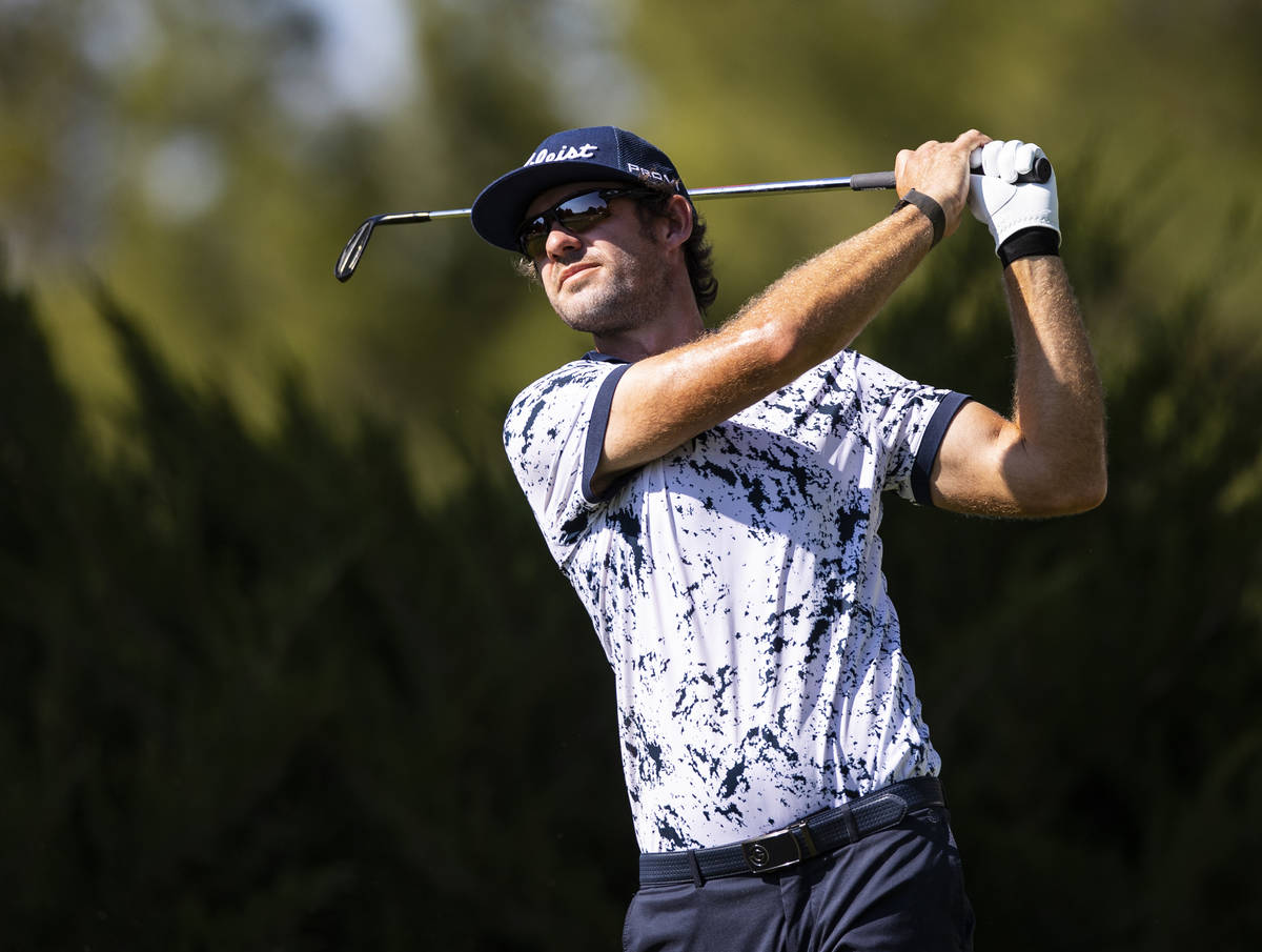 Lanto Griffin tees off at the fifth hole during the final round of the CJ Cup at the Shadow Cre ...