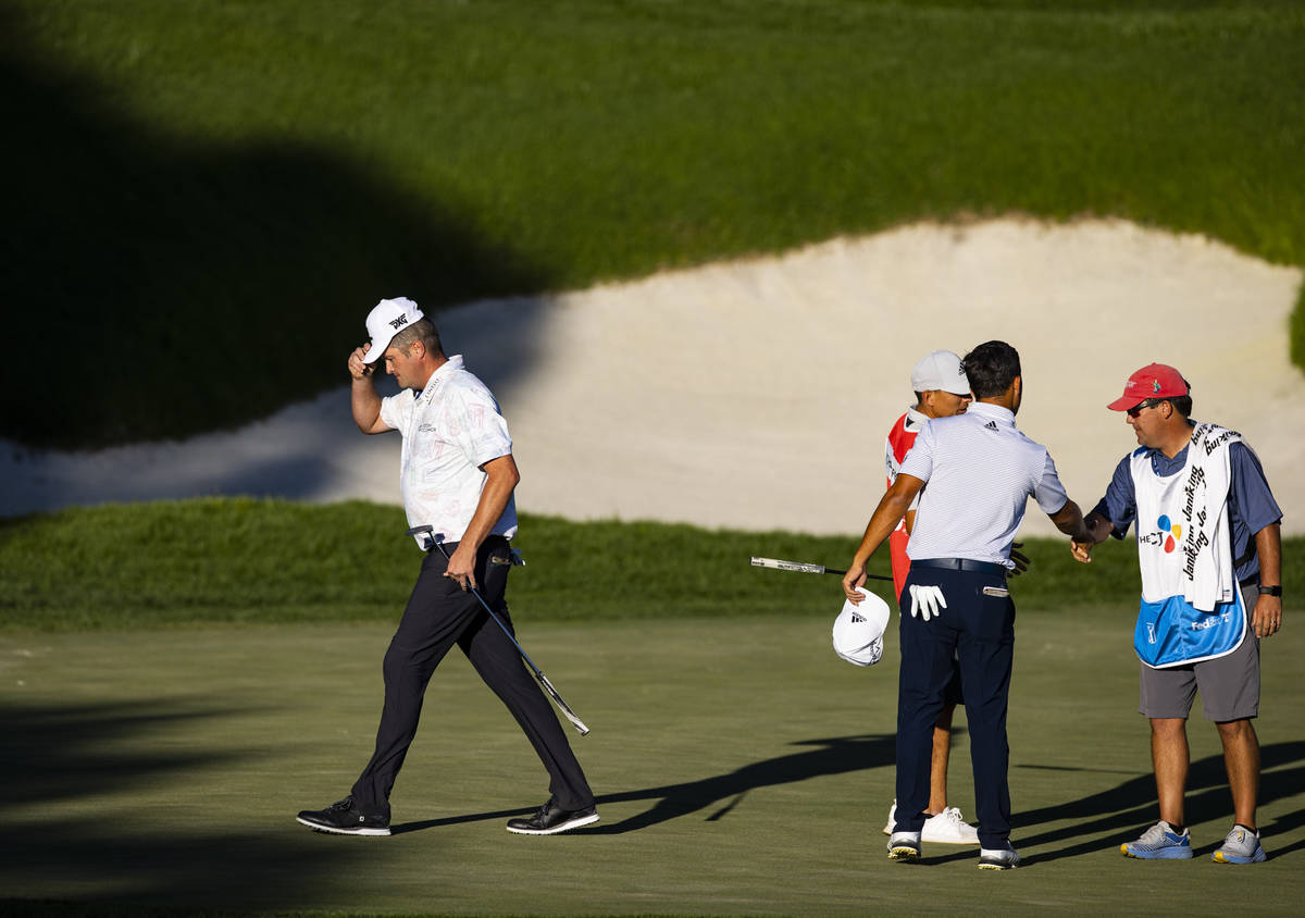 Jason Kokrak walks off the 18th greenʡfter completing the final round of the CJ Cup at th ...