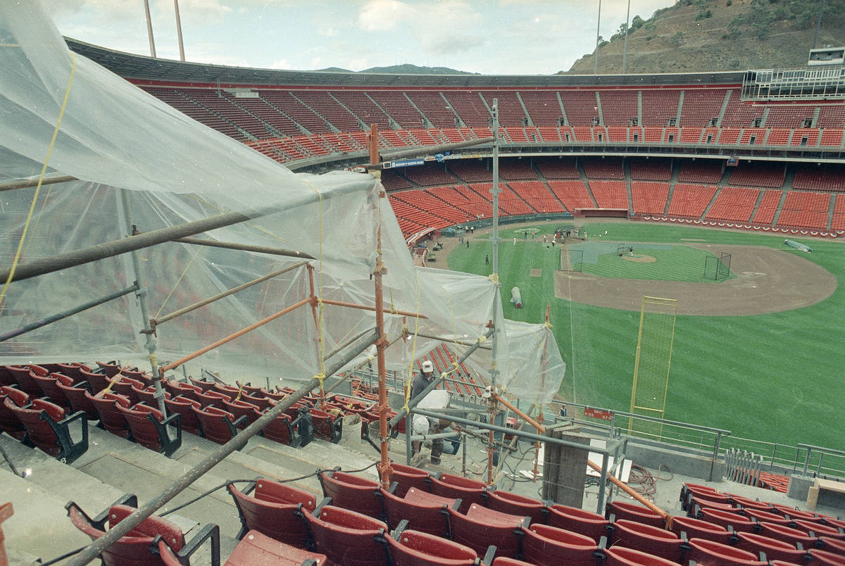 Repairs continue at Candlestick Park in San Francisco, October 22, 1989 as workmen patch the co ...