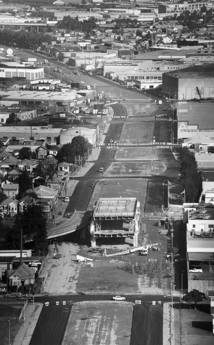 This aerial view is the last standing section of the nearby-demolished Cypress section of the I ...
