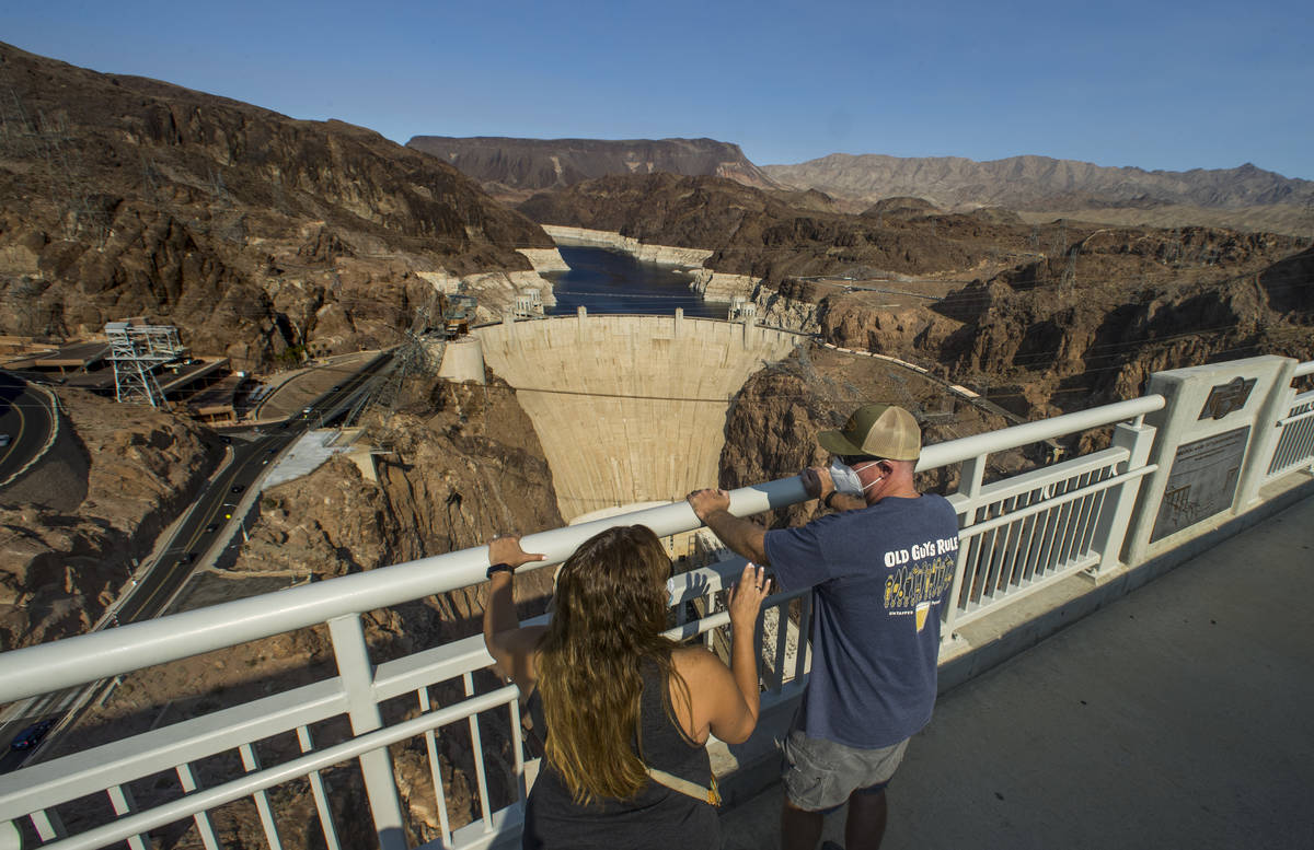 Sara Andersen, left, and husband Mark of San Diego check out the view from the Mike O'Callaghan ...
