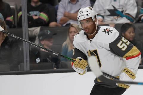 Vegas Golden Knights right wing Keegan Kolesar (55) against the San Jose Sharks during an NHL p ...