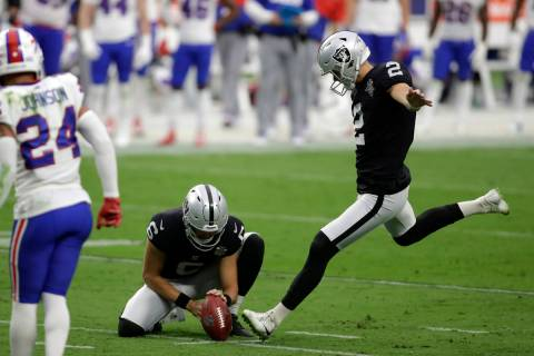 Las Vegas Raiders Daniel Carlson kicks a field goal during the second half of an NFL football g ...