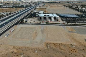 An aerial view of the site for Narrative, a proposed office building at the southwest corner of ...