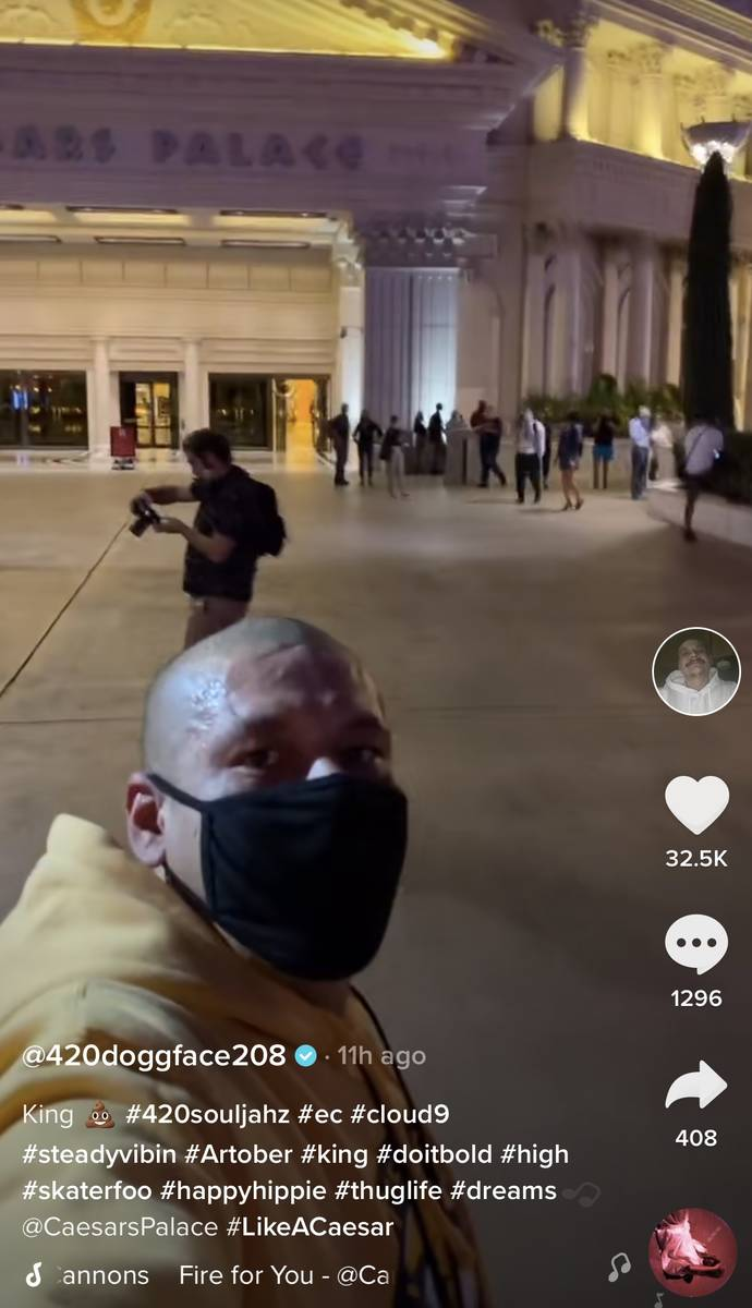 Viral TikTok phenomenon Nathan Apodaca, aka @doggface208, is shown at Caesars Palace on the Las ...