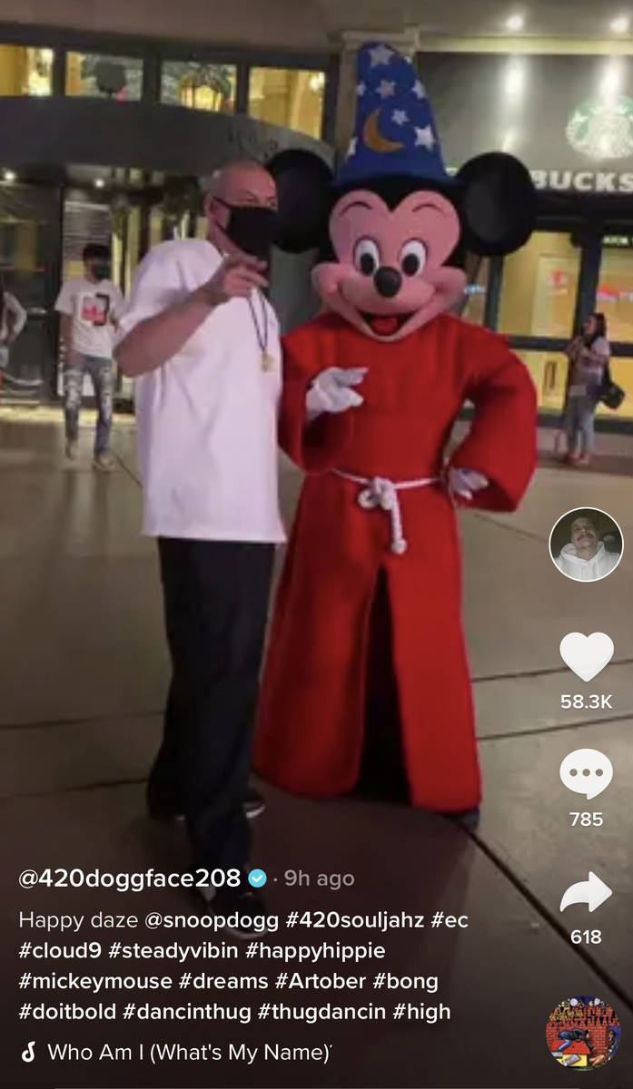 Viral TikTok phenomenon Nathan Apodaca, aka @doggface208, is shown on the Las Vegas Strip in a ...