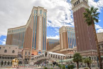 The Venetian is seen in Las Vegas in this March 17, 2020, file photo. (Benjamin Hager/Las Vegas ...