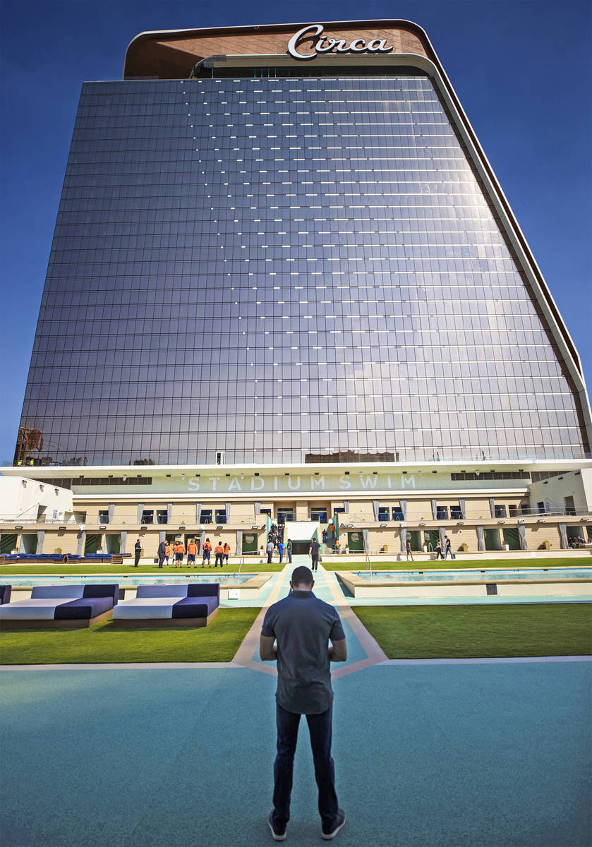 The exterior of Circa seen from Stadium Swim on Monday, Oct. 19, 2020, in Las Vegas. (Benjamin ...