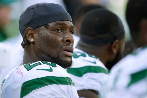 This Sept. 22, 2020, file photo shows New York Jets running back Le'Veon Bell watching from the ...
