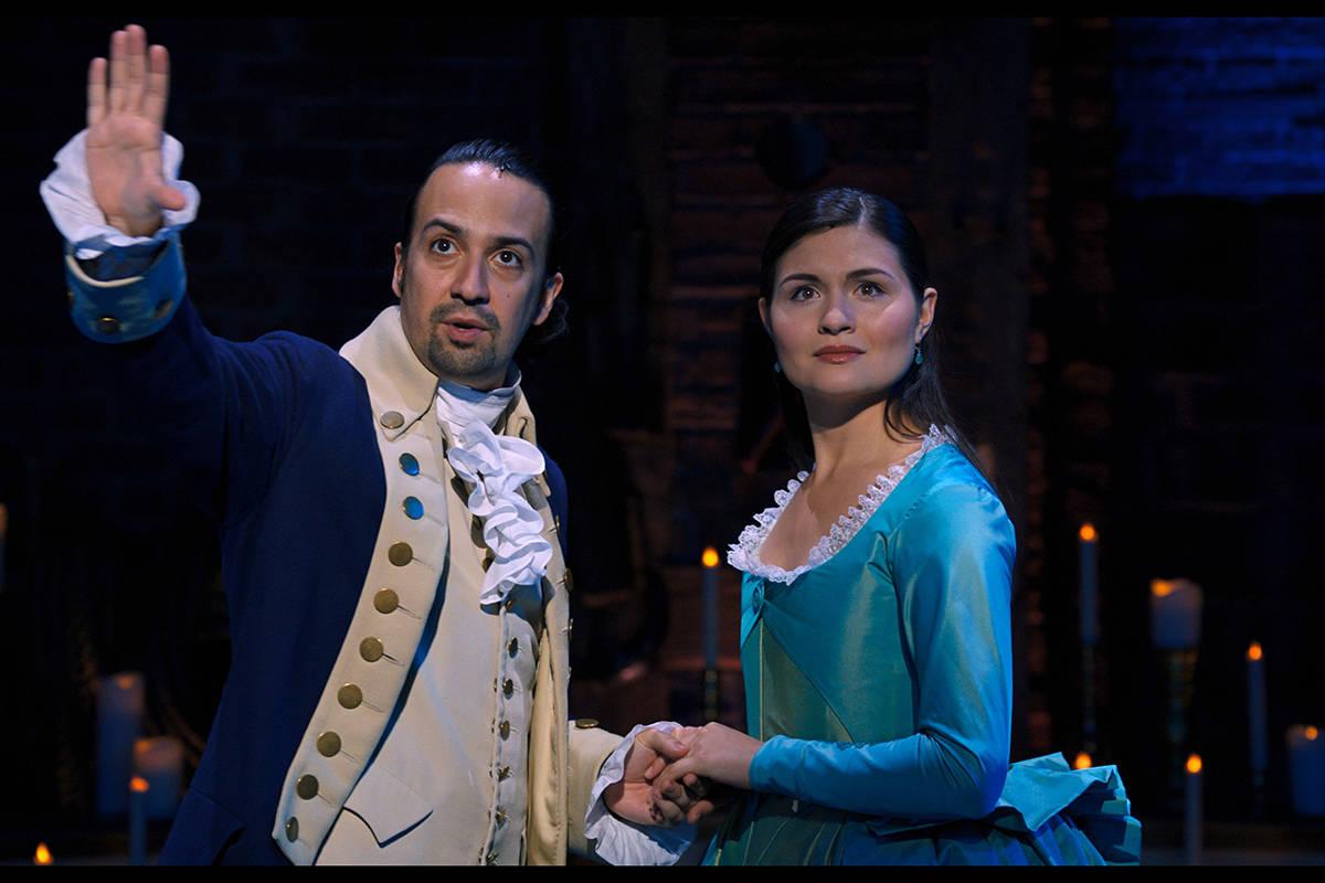 "Lin-Manuel Miranda and Phillipa Soo star in ""Hamilton."" (Disney+)"