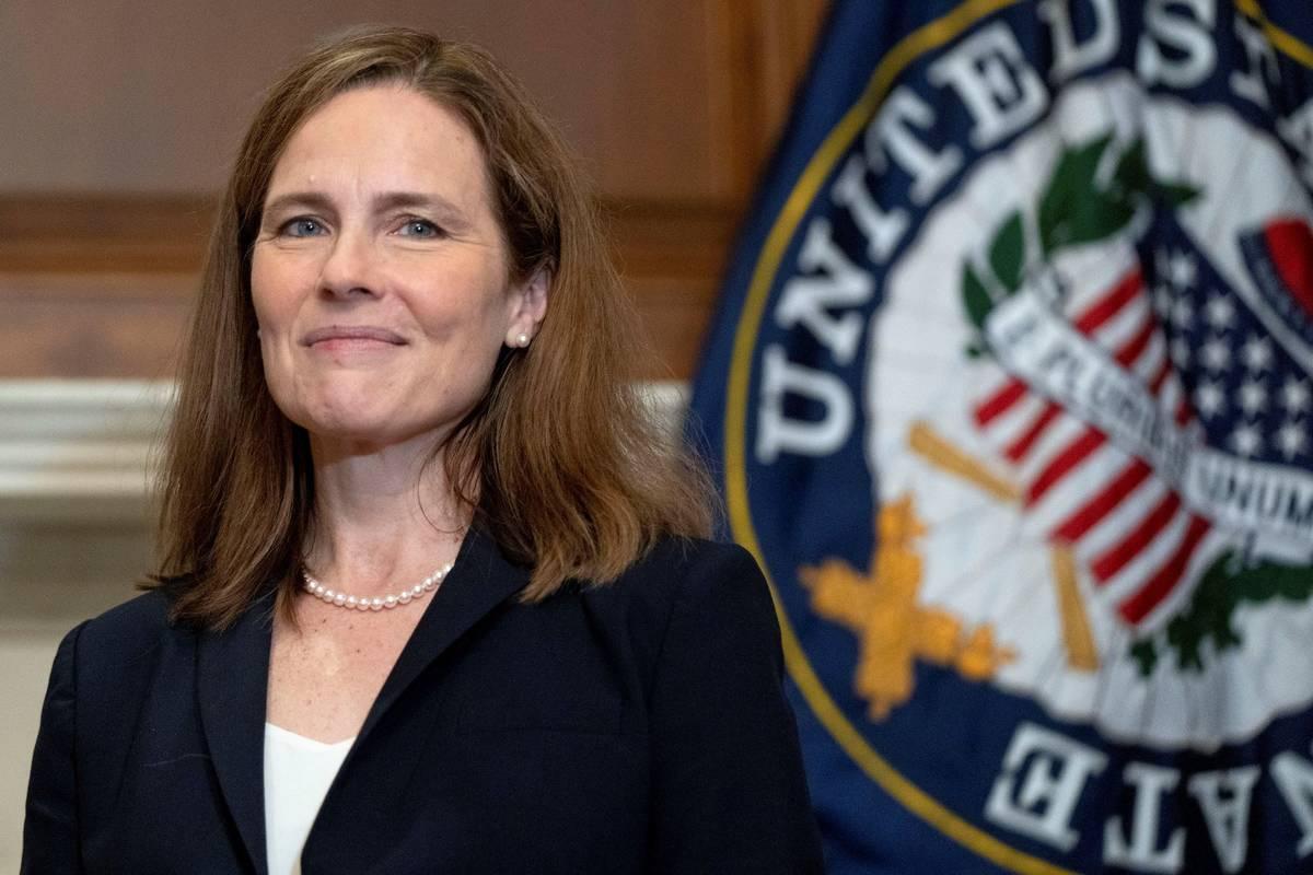 Supreme Court nominee Amy Coney Barrett meets with Sen. James Lankford, R-Okla., Wednesday, Oct ...