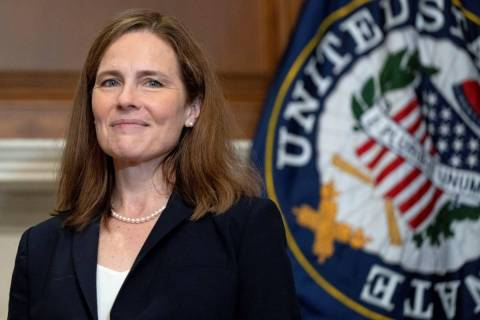 Supreme Court nominee Amy Coney Barrett meets with Sen. James Lankford, R-Okla., Wednesday, Oct ...