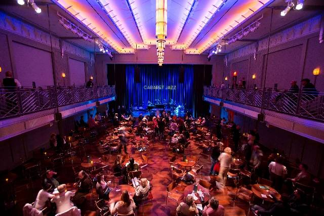 People gather for the Composers Showcase of Las Vegas at Cabaret Jazz inside The Smith Center o ...