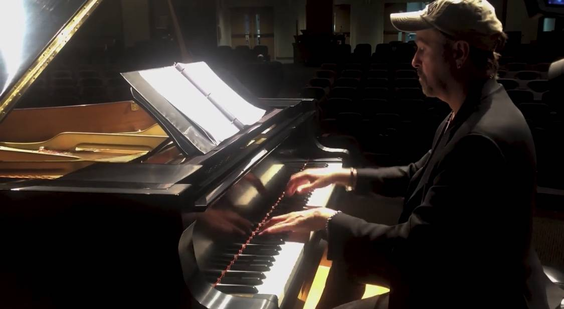 "Pianist Phil Fortenberry is shown in the new ""Needing Each Other"" video, written by Keith Thomp ..."