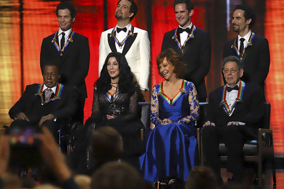 2018 Kennedy Center honorees, front row from left, Wayne Shorter, Cher, Reba McEntire and Phili ...