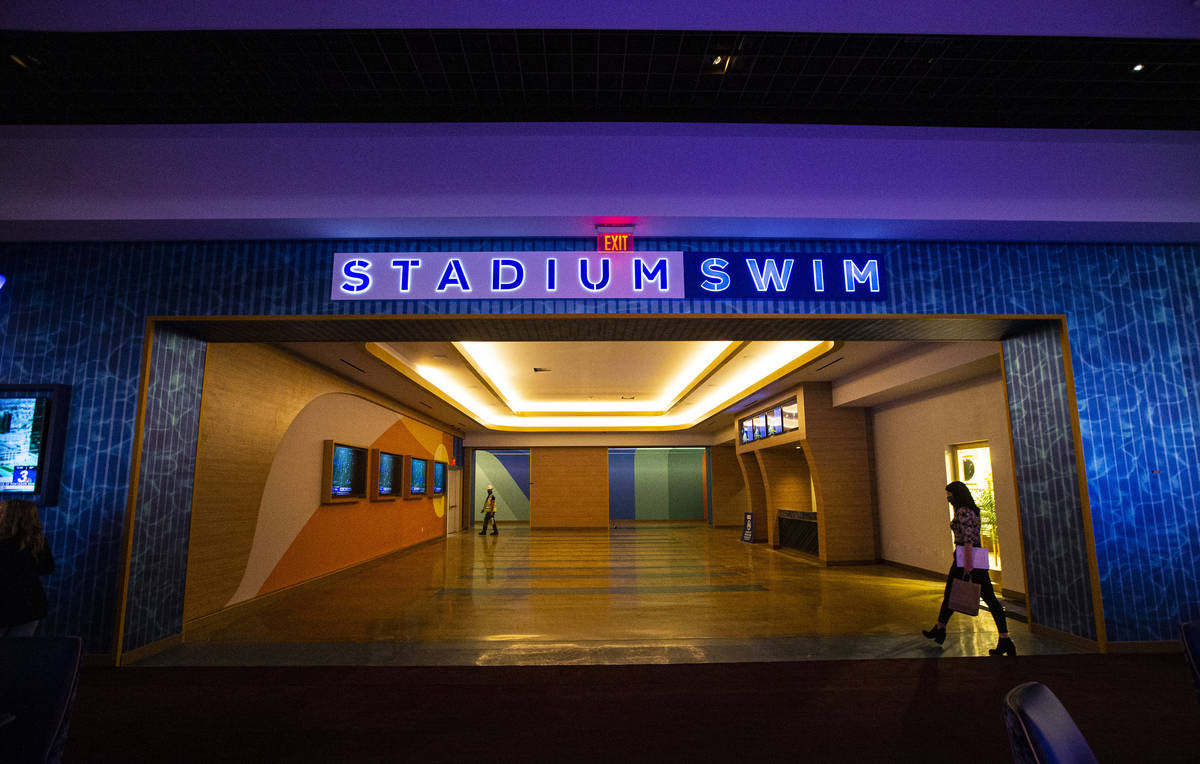 The entrance to Stadium Swim from the second-level casino floor is seen during a tour of Circa, ...