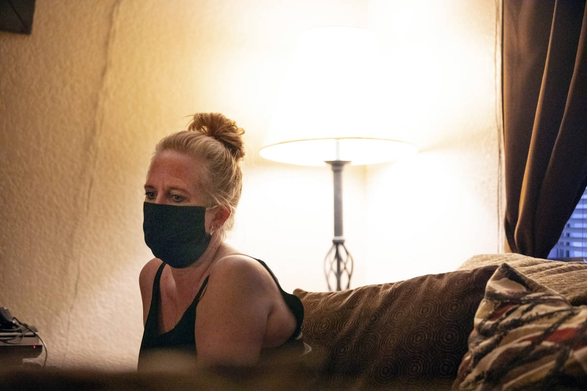 Angela Jones is photographed at her Las Vegas apartment on Oct. 20, 2020. (Elizabeth Brumley/La ...