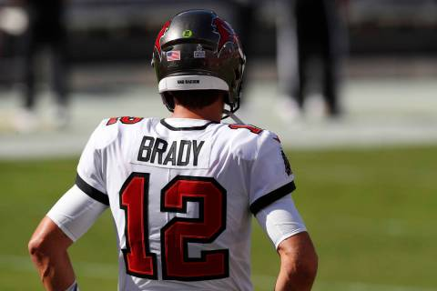 Tampa Bay Buccaneers quarterback Tom Brady (12) shown during pre-game before an NFL football ga ...