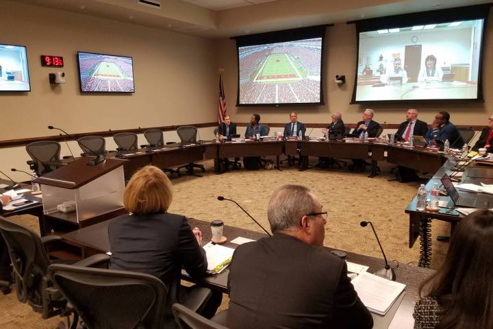 The Nevada Board of Regents watch a video in 2018 at the Nevada System of Higher Education buil ...
