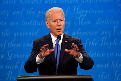 Democratic presidential candidate former Vice President Joe Biden speaks during the second and ...