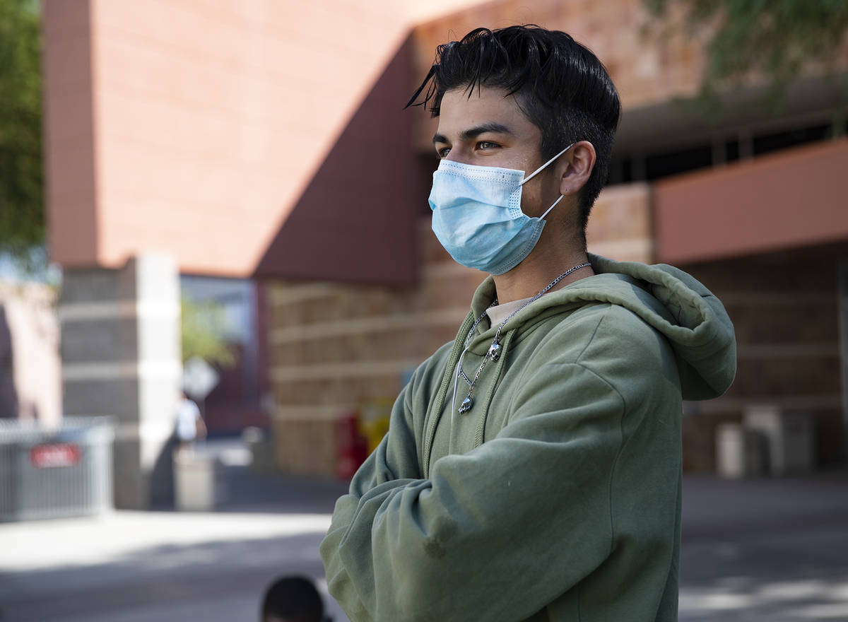 Isacc Mendoza, a pre-nursing sophomore, speaks to the Review-Journal at UNLV in Las Vegas, Thur ...