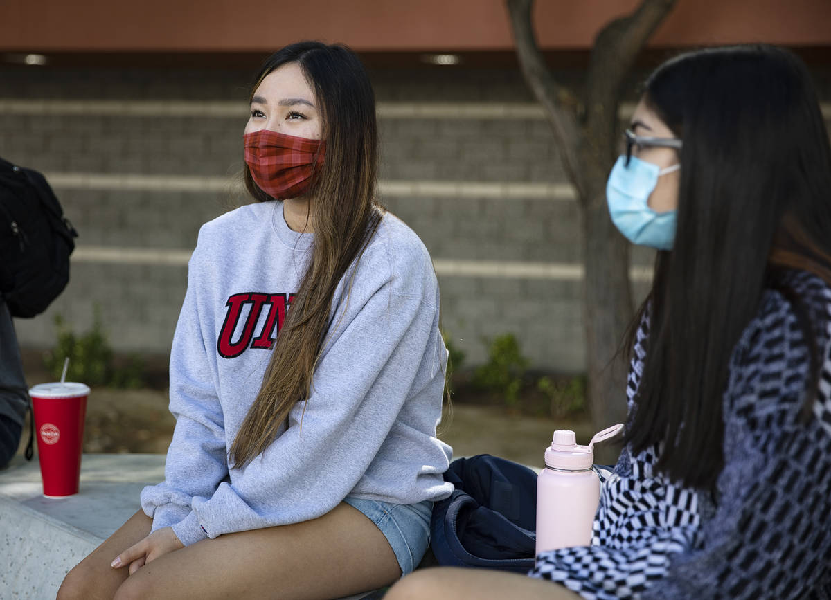 Michelle Kim, a pre-nursing sophomore, speaks with the Review-Journal at UNLV in Las Vegas, Thu ...