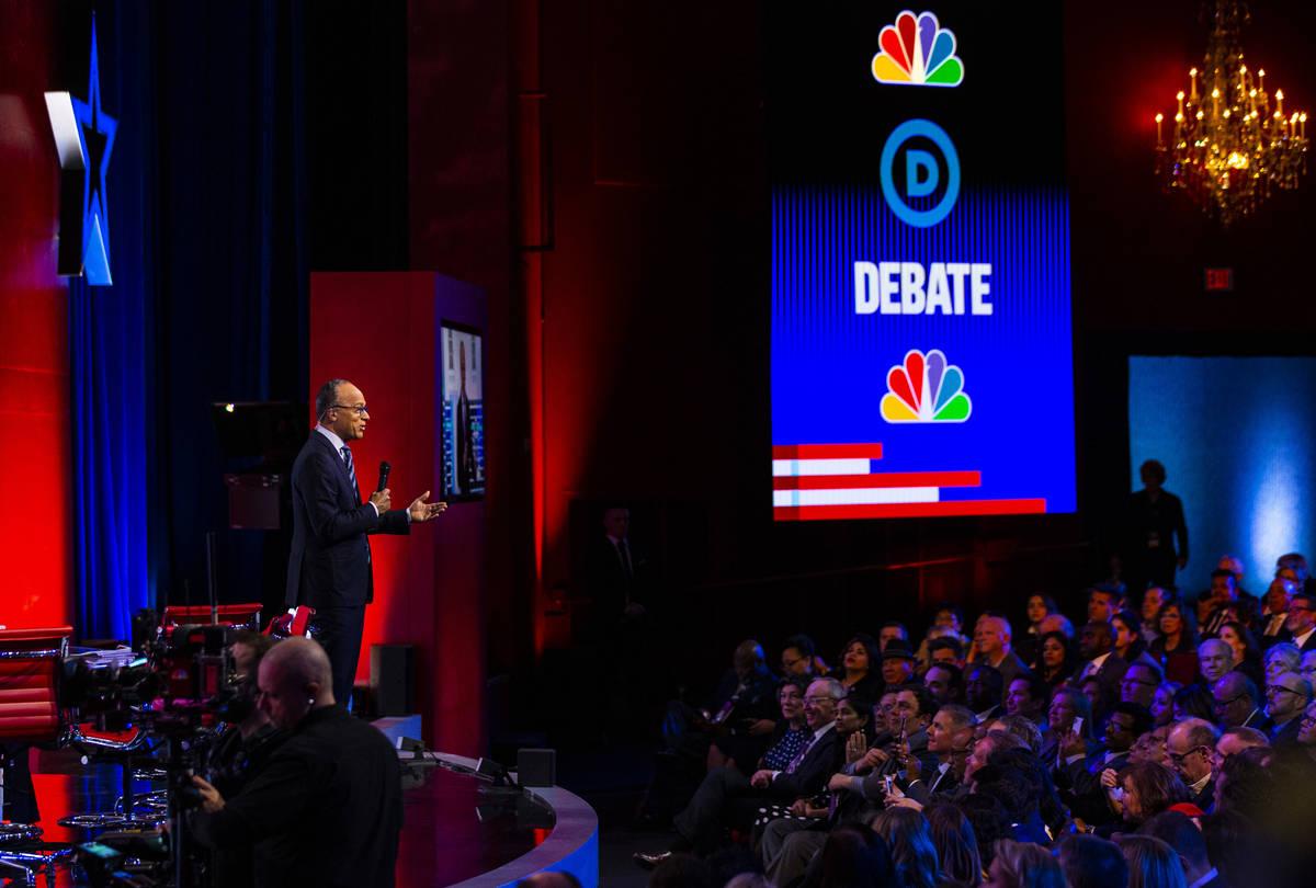 Lester Holt speaks before the start of the Democratic presidential debate at Paris Las Vegas on ...