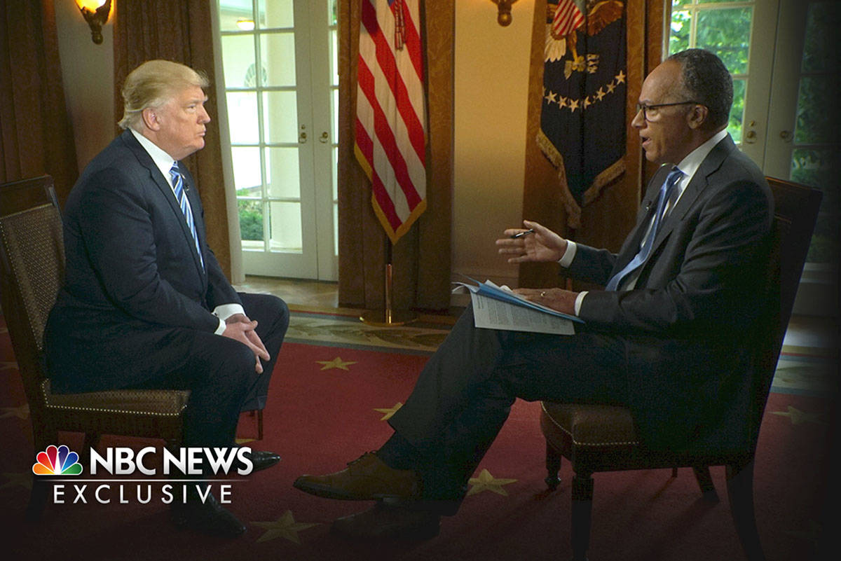 In this image provided by NBC News, President Donald Trump is interviewed by NBC's Lester Holt, ...