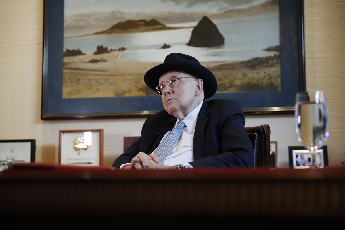 FILE - In this Feb. 19, 2020, file photo former U.S. Sen. Harry Reid listens during an intervie ...