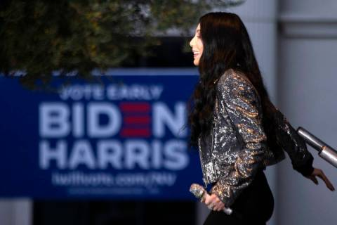 Cher walks onstage at a voter mobilization event at The Gramercy Residences courtyard on Saturd ...