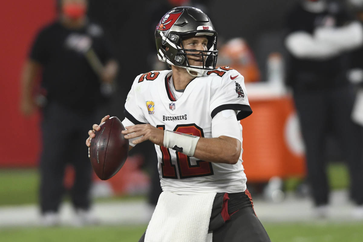 Tampa Bay Buccaneers quarterback Tom Brady (12) during the second half of an NFL football game ...