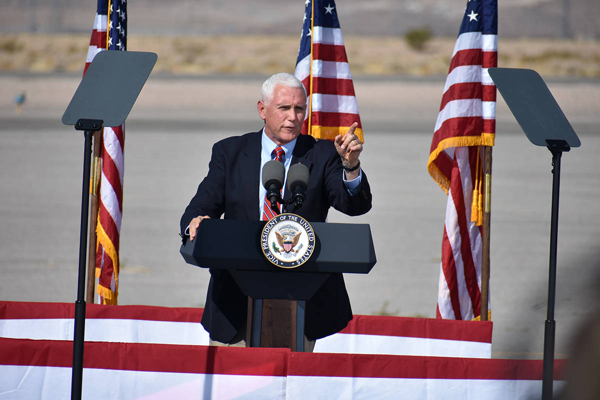 Vice President Mike Pence spoke at a campaign rally on Oct. 8, 2020, at the Boulder City Airpor ...
