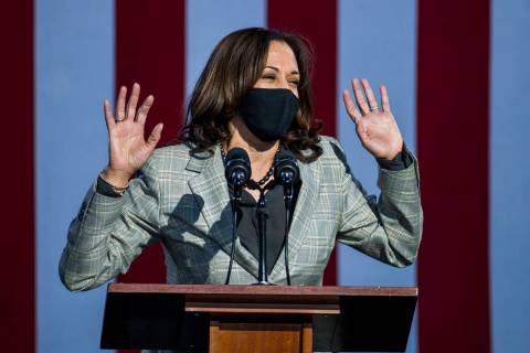 Democratic vice presidential nominee Kamala Harris talks about Nevada during a drive-in rally a ...