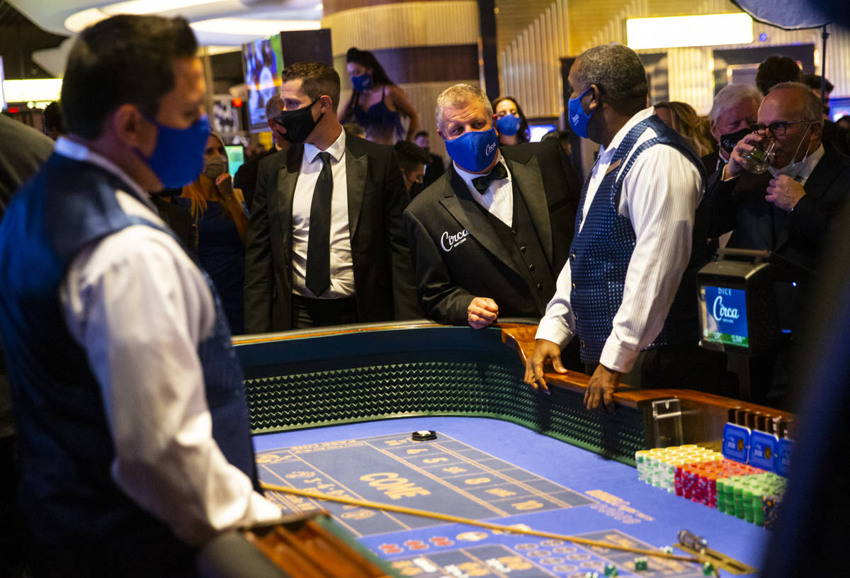 Circa owner Derek Stevens checks on a craps table shortly before the first roll of the dice on ...