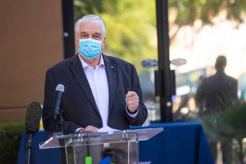 Gov. Steve Sisolak speaks during a press conference announcing a new grant program aimed at hel ...
