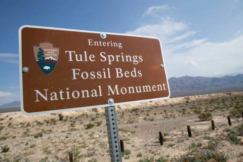 A sign marks the boundary of Tule Springs Fossil Beds National Monument in Las Vegas in this Se ...