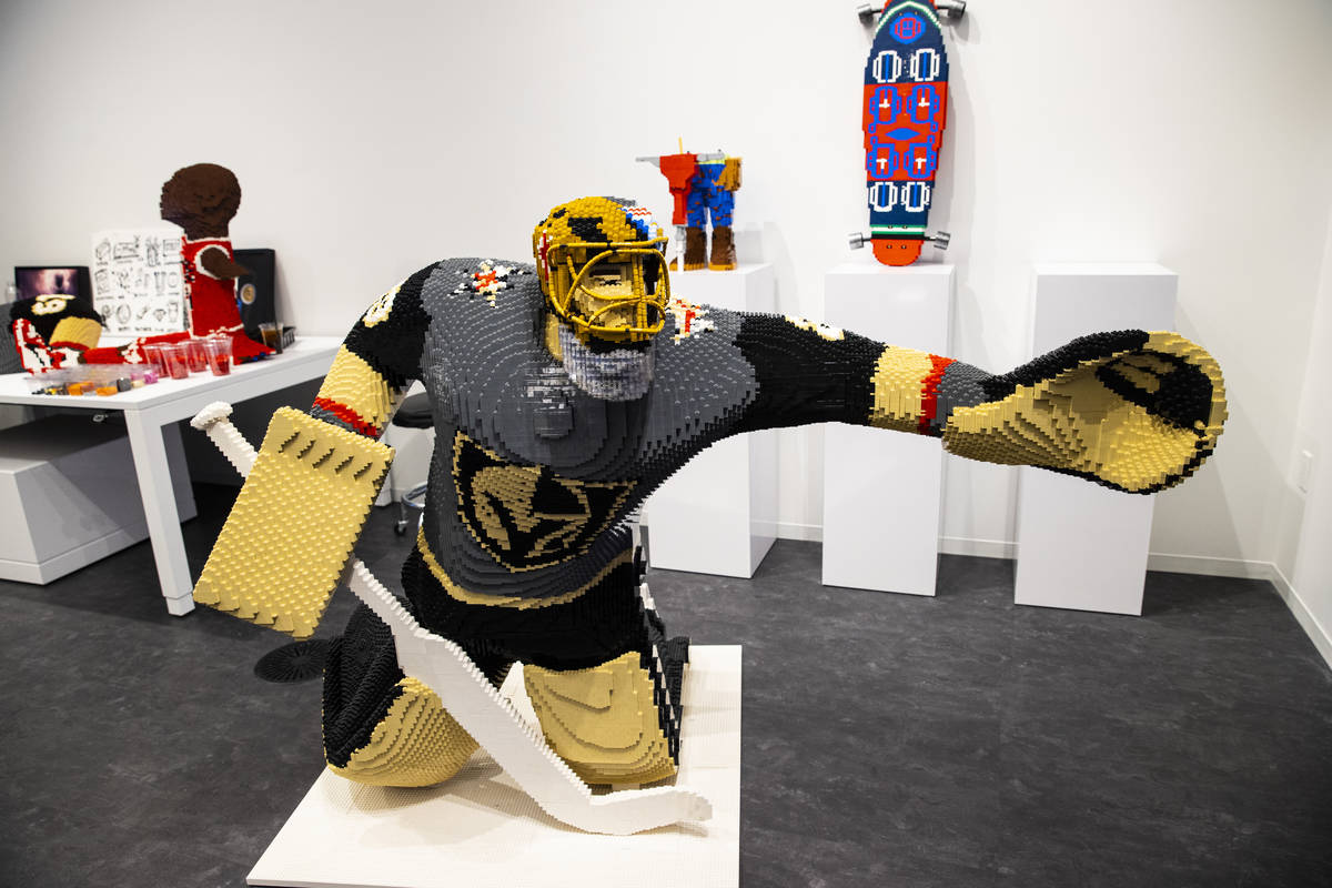 """A sculpture of Golden Knights' Marc-Andre Fleury making """"the save"""" is seen at Chris I ..."""