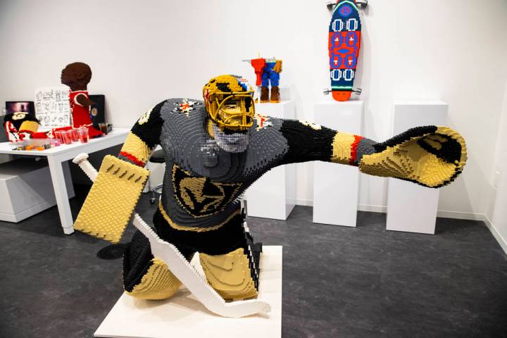 "A sculpture of Golden Knights' Marc-Andre Fleury making ""the save"" is seen at Chris I ..."