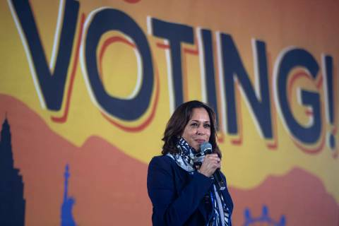 Sen. Kamala Harris makes a campaign stop at Kianga Isoke Palacio Park on Tuesday, Oct. 27, 2020 ...