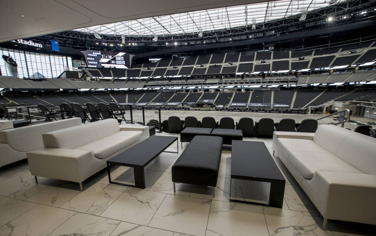 Some great seats are available in the Twitch Lounge during an Allegiant Stadium tour on Friday, ...